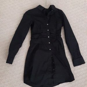 Theory black long sleeved button up dress size 2